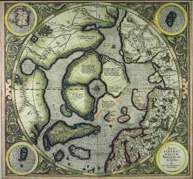 """The Strait of Ania"" - the Spanish name for the elusive Northwest Passage - appears on Mercator's map of the Polar Regions (1595)"