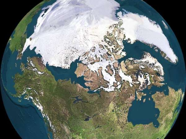 The Globe's Crossroads - between North America and Eurasia - and Pacific and Arctic Oceans (JPL/NASA)